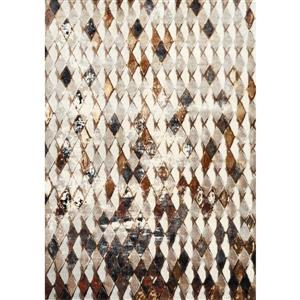 Tapis Sidra de Kalora, motif géométrique, 5, 08 pi x 7, 58 pi, crème