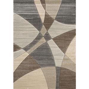 Tapis Freemont de Kalora, motif géométrique, 7, 8 pi x 10, 5 pi, beige