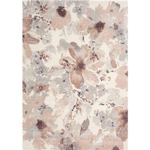 Tapis Sable de Kalora, motif floral, 5, 25 pi x 7, 58 pi, crème