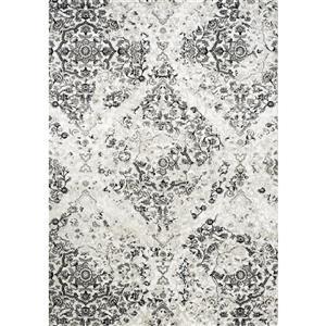 Tapis Paladin de Novelle Home, motif damassé, 5, 25 pi x 7, 58 pi, gris
