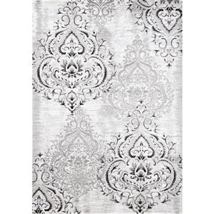 Kalora Platinum Rug - Faded Damask Pattern - 1.9-ft x 3.58-ft - White