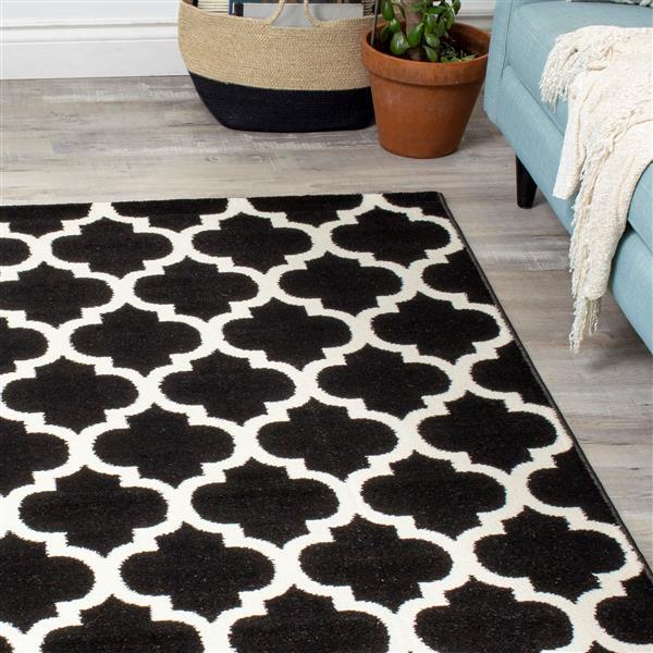 Novelle Home Siecle Rug - Ogee Pattern - 5.25-ft x 7.58-ft - Black