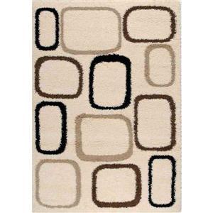 Tapis Shaggy de Kalora, géométrie carrée, 5, 25 pi x 7, 58 pi, crème