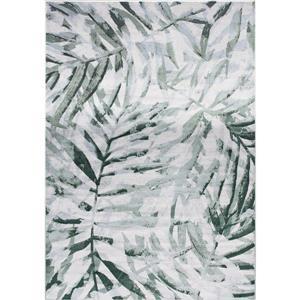 Tapis Antika de Kalora, motif floral, 5, 58 pi x 7, 8 pi, gris