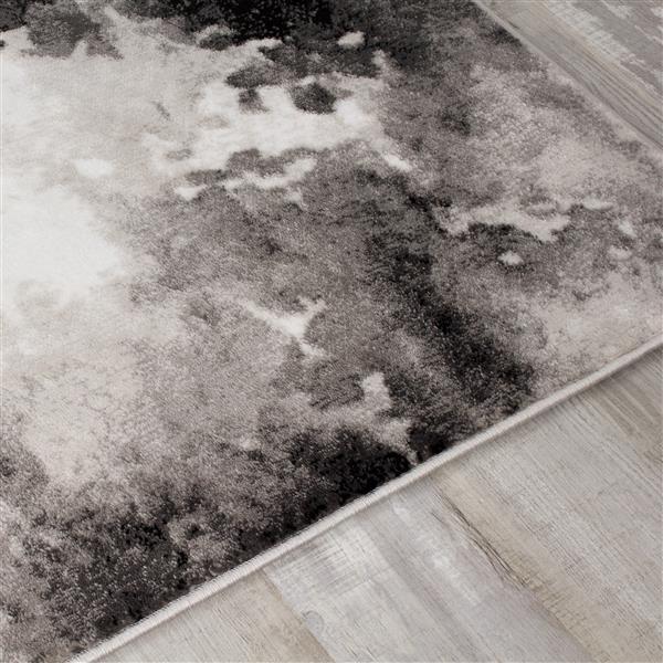Tapis Paladin de Novelle Home, motif abstrait, 2, 6 pi x 4, 9 pi, gris