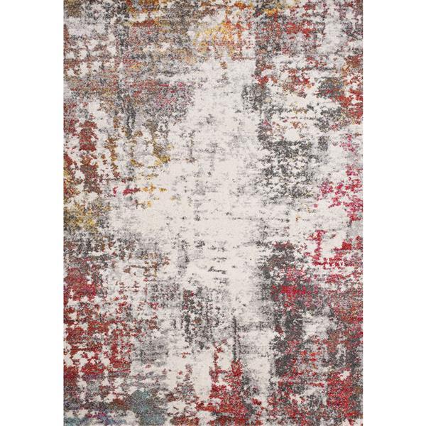 Tapis Saffron de Kalora, motif abstrait, 5, 25 pi x 7, 58 pi, gris