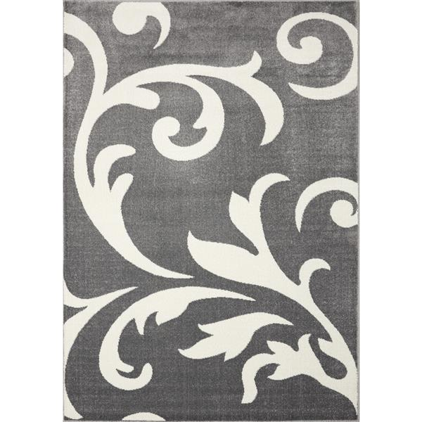 Novelle Home Siecle Rug - Victorian Pattern - 2.6-ft x 4.9-ft - Grey