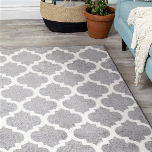 Novelle Home Siecle Rug - Ogee Pattern - 2.6-ft x 4.9-ft - Grey