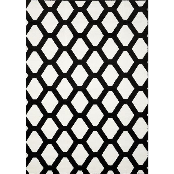 Novelle Home Siecle Rug - Latticework Pattern - 5.25-ft x 7.58-ft - Cream