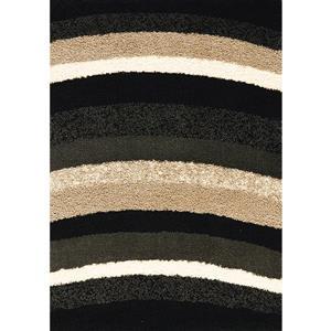 Tapis Shaggy de Kalora, lignes courbées, 5, 25 pi x 7, 58 pi, blanc