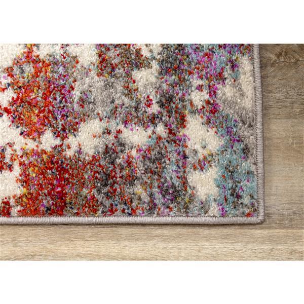 Tapis Saffron de Kalora, motif abstrait, 7, 8 pi x 10, 5 pi, gris