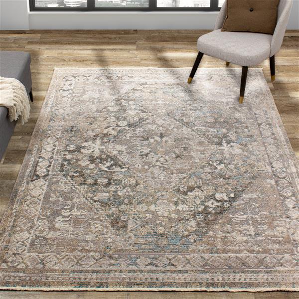 Kalora Evora Rug - Incricate Traditional Pattern - 7.8-ft x 10.5-ft - Grey