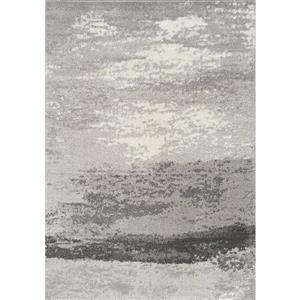 Tapis Converge de Novelle Home, motif abstrait, 5, 25 pi x 7, 58 pi, gris