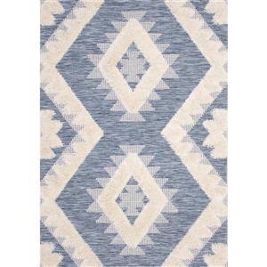 Tapis Neka de Kalora, motif tribal, 5, 25 pi x 7, 58 pi, bleu