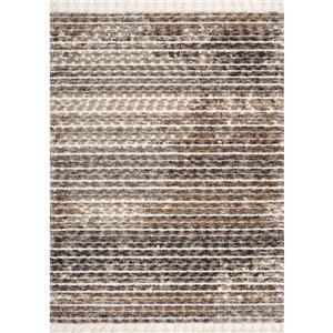 Tapis Colorado de Kalora, lignes décolorées, 2, 58 pi x 7, 8 pi, beige