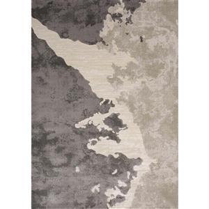 Tapis Alaska de Kalora, motif abstrait, 5, 25 pi x 7, 58 pi, beige