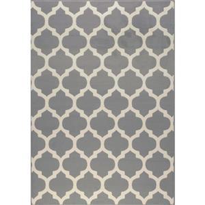 Tapis Fiona de Novelle Home, motif arabesque classique, 7, 6 pi x 10, 5 pi, gris