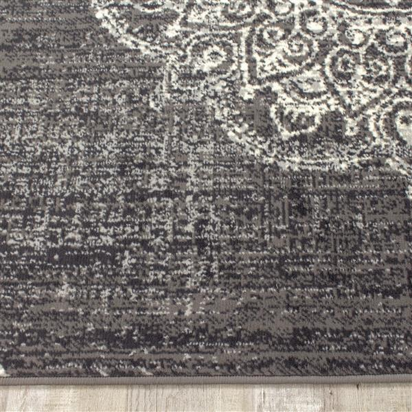 Tapis Fiona de Novelle Home, médaillon, 5, 25 pi x 7, 3 pi, gris