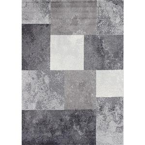 Novelle Home Fiona Rug - Modern Block Pattern - 5.25-ft x 7.3-ft - Grey