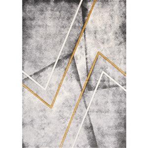 Tapis Soho de Kalora, zigzag moderne, 7, 8 pi x 10, 5 pi, gris