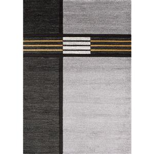 Tapis Soho de Kalora, motif géométrique moderne, 7, 8 pi x 10, 5 pi, gris