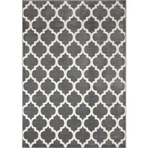 Novelle Home Siecle Rug - Ogee Pattern - 2.6-ft x 7.8-ft - Grey