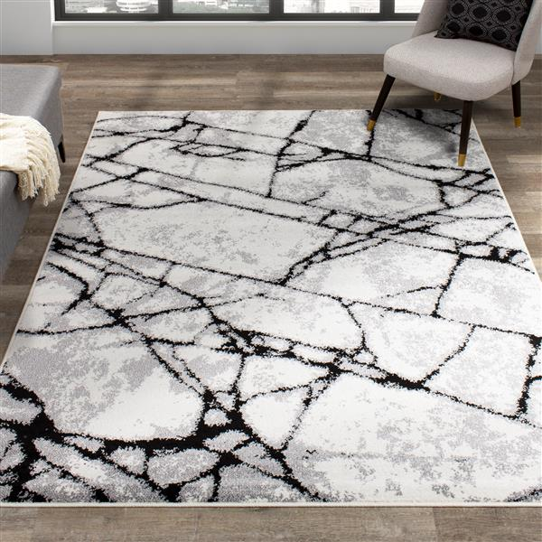 Novelle Home Siecle Rug - Textured Glass Form - 7.8-ft x 10.5-ft - Cream