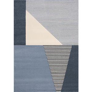 Tapis Safi de Kalora, motif géométrique, 7, 8 pi x 10, 83 pi, bleu