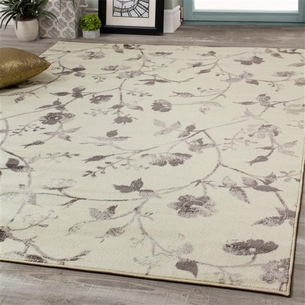 Novelle Home Meridian Rug - Flower Pattern - 7.8-ft x 10.5-ft - Cream
