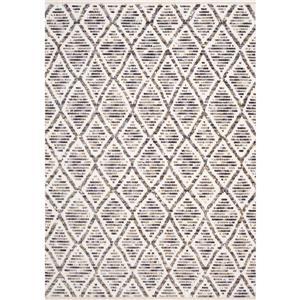 Tapis Nepal de Kalora, motif tribal, 5, 25 pi x 7, 58 pi, crème