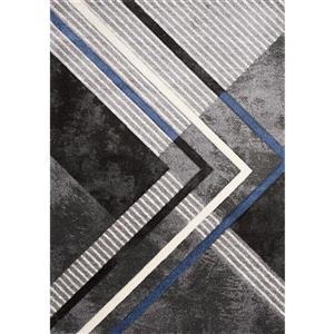 Tapis Soho de Kalora, motif géométrique, 5, 25 pi x 7, 58 pi, gris