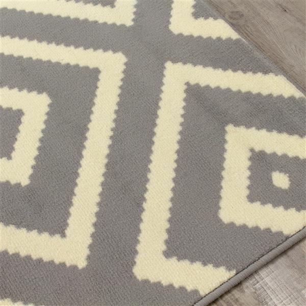 Novelle Home Fiona Rug - Diamond Pattern - 7.6-ft x 10.5-ft - Grey