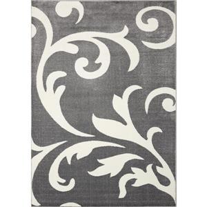 Tapis Siecle de Novelle Home, motif victorien, 2, 6 pi x 7, 8 pi, gris
