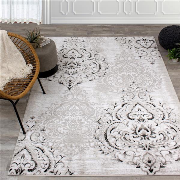 Kalora Platinum Rug - Faded Damask Pattern - 6.58-ft x 9.5-ft - White