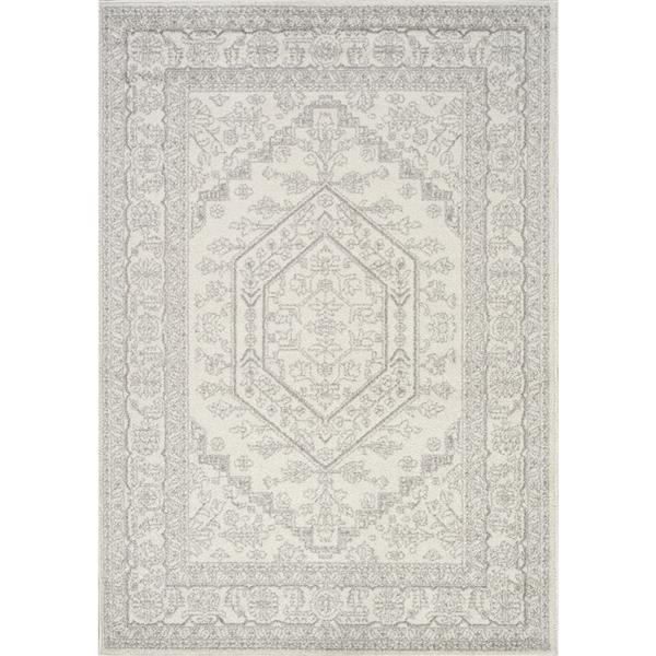 Tapis Converge de Novelle Home, motif traditionnel, 5, 25 pi x 7, 58 pi, blanc