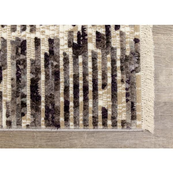 Kalora Nepal Rug - Banded Rows - 5.25-ft x 7.58-ft - Beige