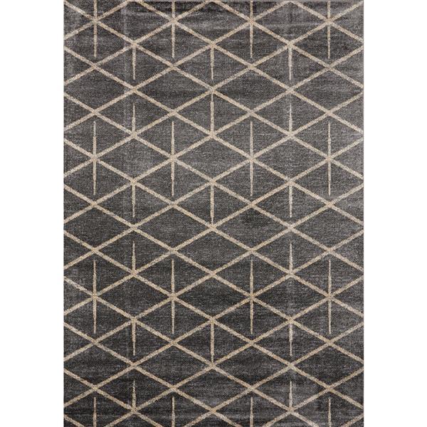 Novelle Home Sigma Rug - Modern Triangular Pattern - 2.6-ft x 4.9-ft - Cream