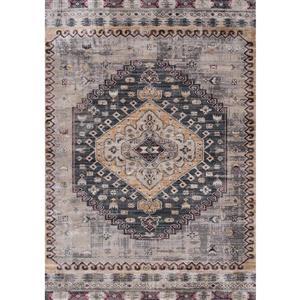 Tapis Sidra de Kalora, style transitoire, 5, 08 pi x 7, 58 pi, gris