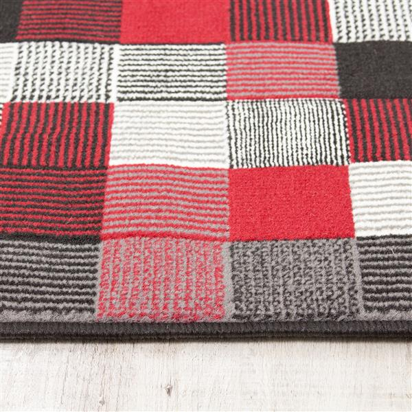 Novelle Home Fiona Rug - Tiny Block Pattern - 5.25-ft x 7.3-ft - Red