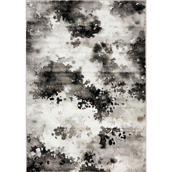 Tapis Paladin de Novelle Home, motif abstrait, 5, 25 pi x 7, 58 pi, gris