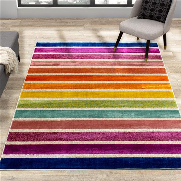 Kalora Brighton Rug - Rainbow - 5.25-ft x 7.58-ft - Pink