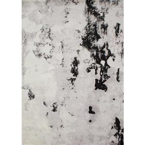 Tapis Meridian de Novelle Home, galets abstraits, 5, 25 pi x 7, 58 pi, gris