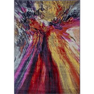 Tapis Sovereign de Novelle Home, motif abstrait, 5, 25 pi x 7, 58 pi, rose