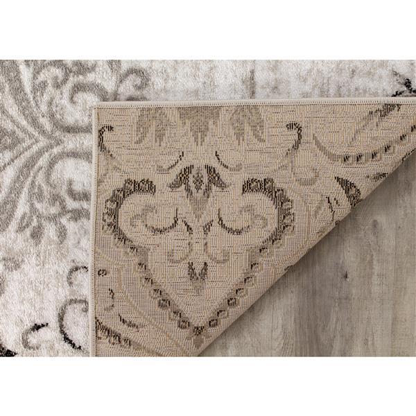 Kalora Platinum Rug - Faded Damask Pattern - 5.25-ft x 7.58-ft - White