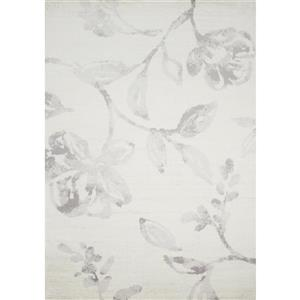 Novelle Home Meridian Rug - Watercolor Flower Pattern - 5.58-ft x 7.58-ft - Grey