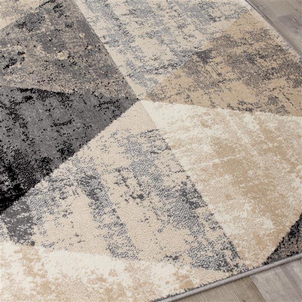 Tapis Siecle de Novelle Home, motif triangulaire moderne, 5, 25 pi x 7, 58 pi, crème