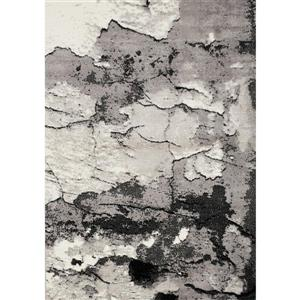 Tapis Meridian de Novelle Home, motif abstrait, 5, 25 pi x 7, 58 pi, gris