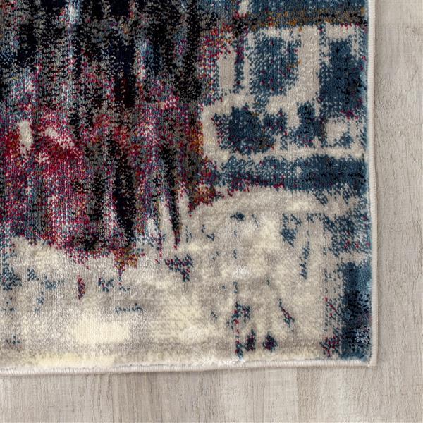 Tapis Sidra de Kalora, motif abstrait, 5, 08 pi x 7, 58 pi, crème
