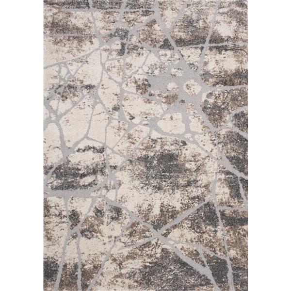 Tapis Montana de Kalora, motif abstrait, 5, 25 pi x 7, 58 pi, crème
