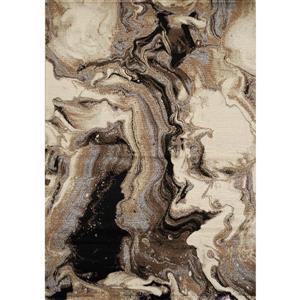 Tapis Paladin de Novelle Home, motif abstrait, 5, 25 pi x 7, 58 pi, beige